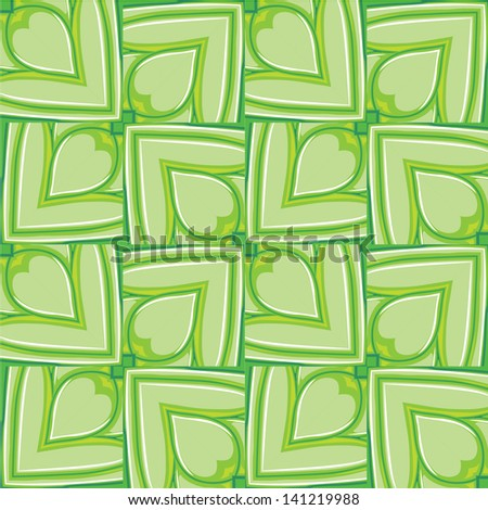Seamless pattern of green leaves like chain armour. May be used for background or decorative frame. - stock vector