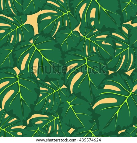 seamless pattern of green leaves monstera on a light yellow background - stock vector