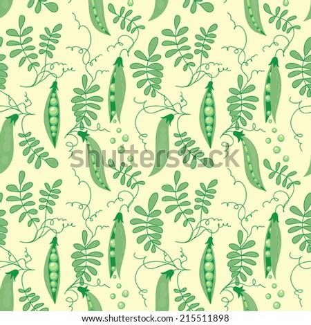 Seamless pattern of green sweet peas. - stock vector