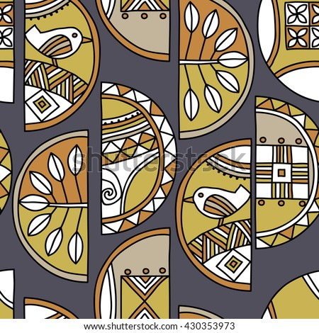 Seamless pattern of half circles with abstract birds, plants and traditional elements on a gray background.