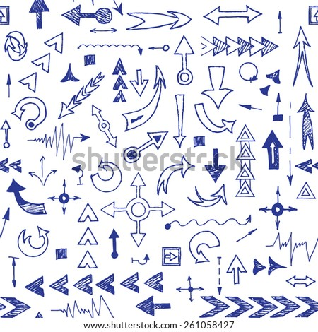 seamless pattern of hand drawn arrows