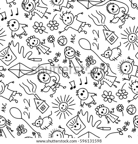 Seamless pattern of hand drawn childish people and objects.