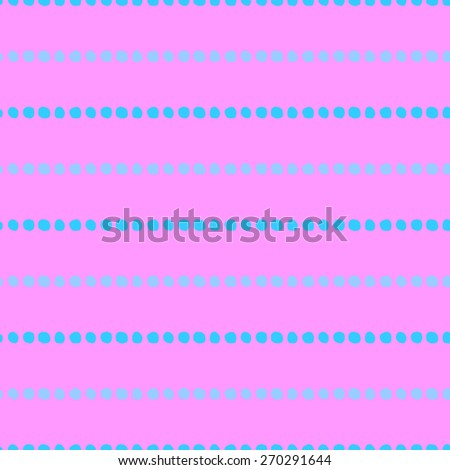 Seamless pattern of hand-drawn circles of light blue and purple circles on a bright pink background - stock vector