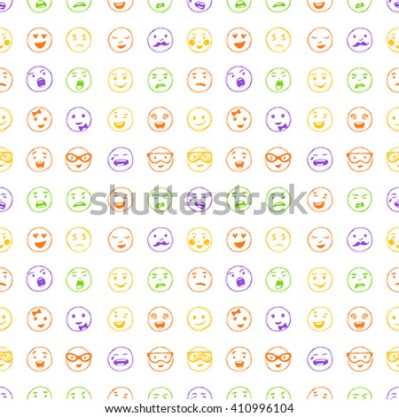 Seamless pattern of hand drawn color lines smiles. Vector elements for emotion, internet web icons. - stock vector