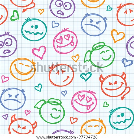 seamless pattern of hand drawn colorful smiles - stock vector
