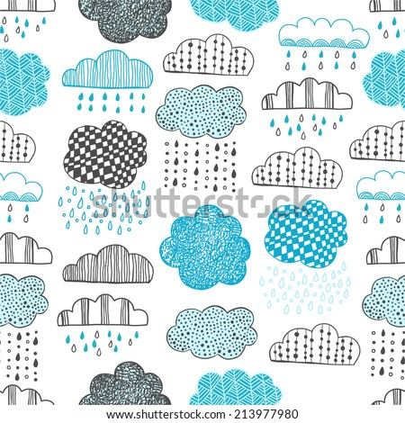 Seamless pattern of hand drawn doodle clouds for textiles, interior design, for book design, website background - stock vector