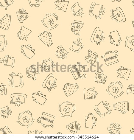 Seamless pattern of hand-drawn icons coffee, tea and teapot, dark contour on the beige background