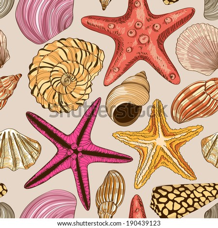 Seamless pattern of hand drawn seashells and starfish