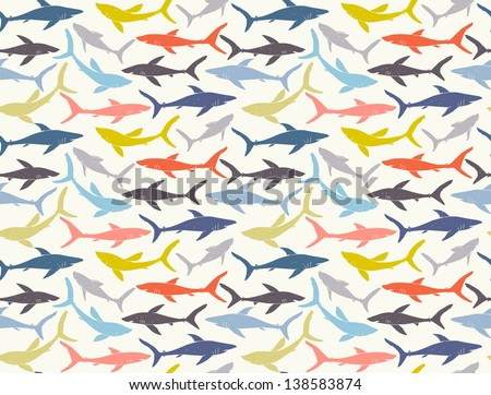 Seamless pattern of hand-drawn sharks silhouettes. EPS 10 vector - stock vector