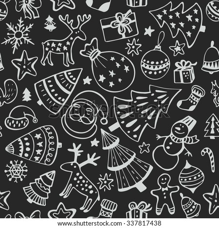 Seamless pattern of hand drawn sketchy christmas elements. Doodle sketch vector illustration. Christmas tree, deer, Santa, snowflake - stock vector