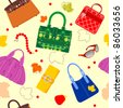 Seamless pattern of handbags and accessories - stock vector