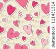 seamless pattern of hearts and hand writing elements - stock vector