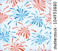 Seamless pattern of holiday fireworks. Vector Illustration. - stock vector