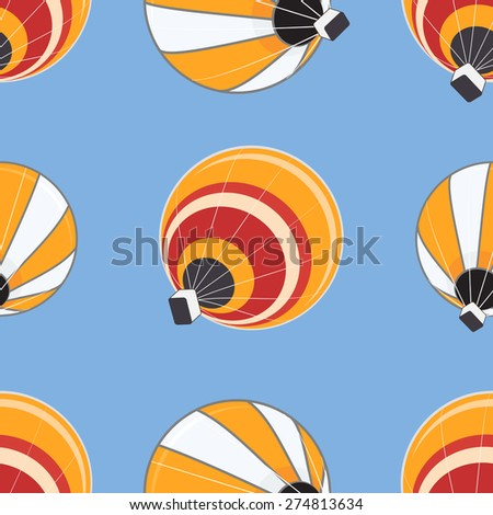 Seamless pattern of hot air balloons - stock vector