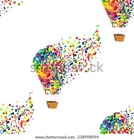 Seamless pattern of hot air balloons on the  background.  Vector EPS - stock vector