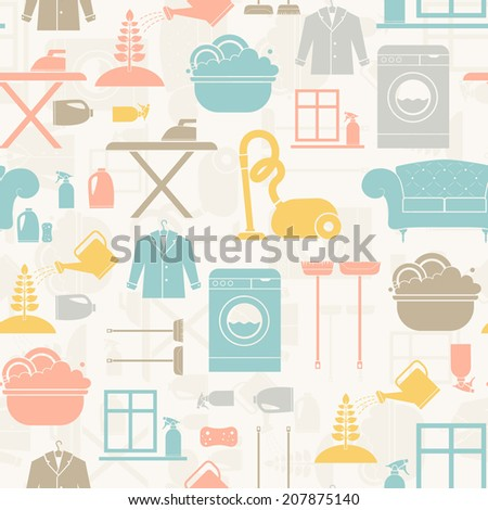 Seamless pattern of house cleaning icons. Vector seamles illistration of housekeeping with all main housework symbols - washing, cleaning, vacuum cleaning. - stock vector