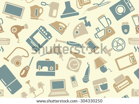 Seamless pattern of household appliances - stock vector