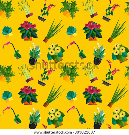 Seamless pattern of houseplants, indoor and office plants in pot. Dracaena, fern, bamboo, spathyfyllium, orchids, Calla lily, aloe vera, gerbera, snake plant, anthuriums. Flat seamless plants, vector