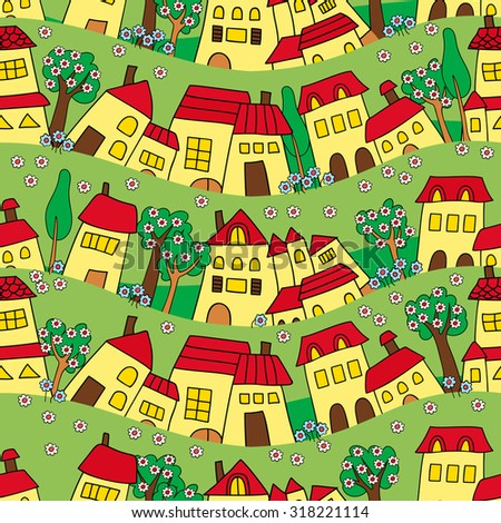 seamless pattern of houses on a green background - stock vector
