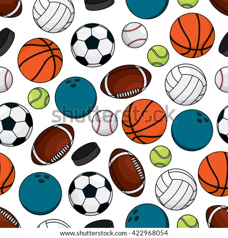 Seamless pattern of ice hockey pucks with balls for soccer and american football, basketball and baseball, volleyball, tennis and bowling over white background. Great for sports competition theme - stock vector