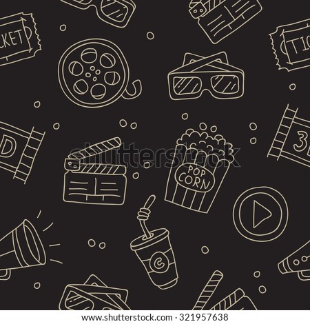 Seamless pattern of icons about the movie on a black background. Vector.