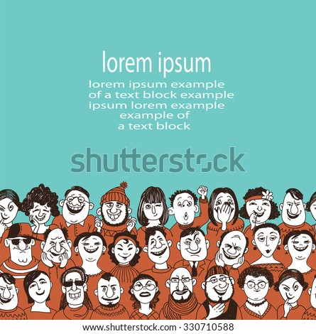 Seamless pattern of images of funny faces. Doodle set happy faces cartoon characters men women.  Vector illustration. Place for your text.