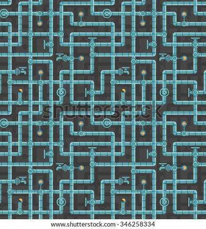 Seamless pattern of interlocking pipes with valves, adapters, vents, manometers on a dark background. Steampunk pattern. - stock vector