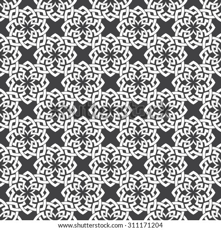 Seamless pattern of intersecting Celtic flowers. Stylish ornament texture. Fashion geometric background for web or printing design. - stock vector