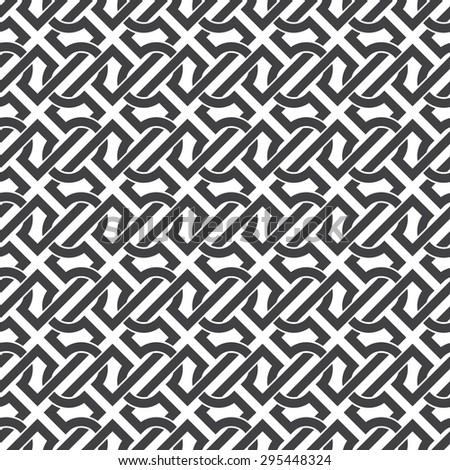Seamless pattern of intersecting complex shapes with swatch for filling. Celtic chain mail. Fashion geometric background for web or printing design. - stock vector