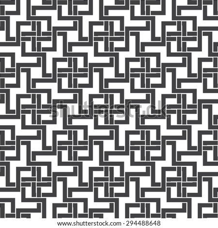 Seamless pattern of intersecting zigzag shapes with swatch for filling. Celtic chain mail. Fashion geometric background for web or printing design. - stock vector