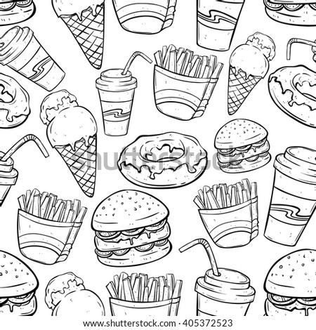 Seamless Pattern of Junk Food With Hand Drawing or Sketchy Style on White Background