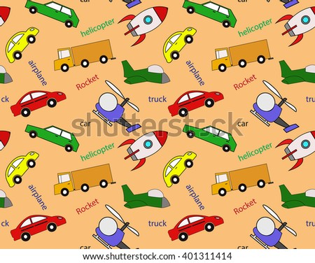 Seamless pattern of kids' transport, for packaging, tissue - stock vector