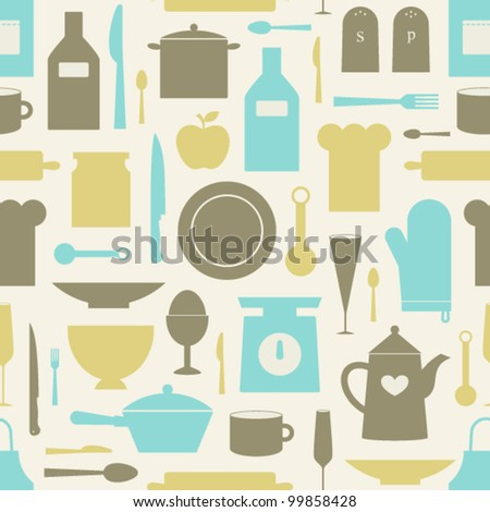 Seamless Pattern Of Kitchen Tools - stock vector