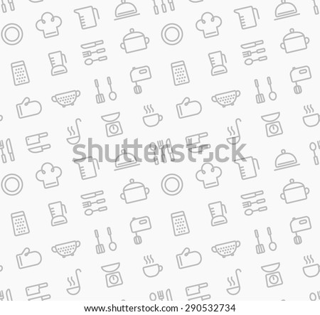 Seamless pattern of kitchen utensil and cooking related object outlines. - stock vector