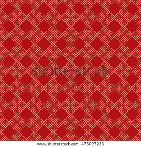 Seamless Pattern of Lattice Decorated With Chinese Scroll Pattern.