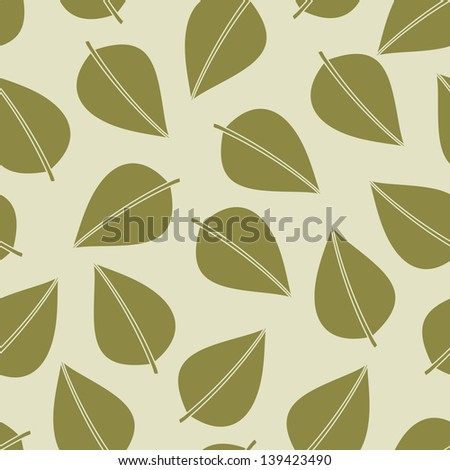 Seamless pattern of leaves - stock vector
