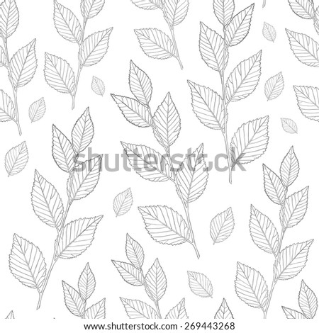 Seamless pattern of leaves. Line vector texture leaves. - stock vector
