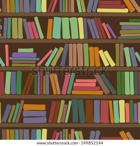 Seamless pattern of library bookshelf with books - stock vector