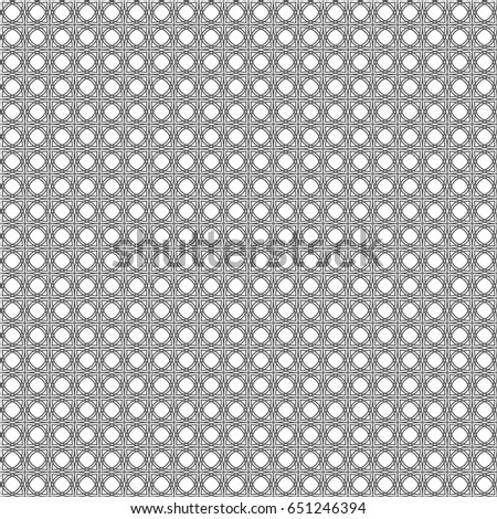 Seamless pattern of lines and circles. Geometric wallpaper. Unusual lattice. Vector illustration. Good quality.