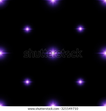 Seamless pattern of luminous stars. Illusion of light flashes. Purple flames on a black background. Abstract background. Vector illustration.  - stock vector