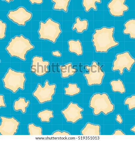 Seamless pattern of map with islands. Vector background for game interface