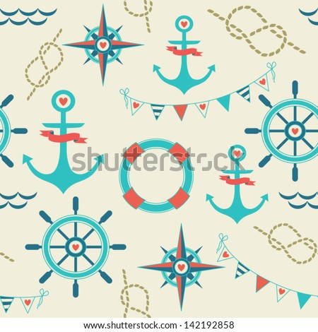 Seamless pattern of marine symbols; anchor, rope, flags, compass  and steering wheel. Cartoon marine icons. Kid's elements for scrap-booking. Childish background. Hand drawn vector illustration. - stock vector