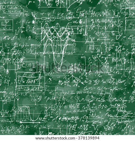 Seamless pattern of mathematical operation and equation, endless arithmetic pattern on seamless green chalk boards. Handwritten lesson. Geometry, math, physics, electronic engineering subjects. - stock vector