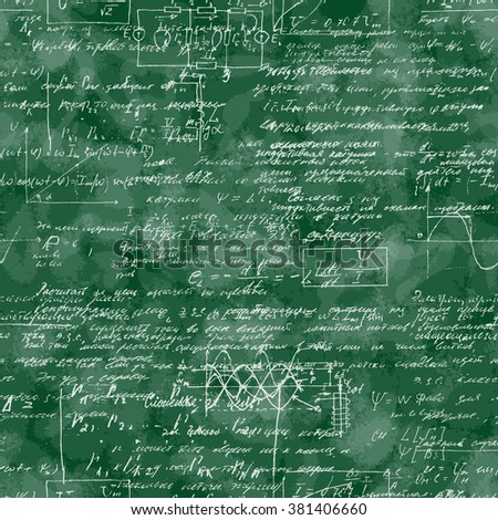 Seamless pattern of mathematical operation and equation, endless arithmetic pattern on seamless green chalk boards. Handwritten calculations. Geometry, math, physics, electronic engineering subjects. - stock vector