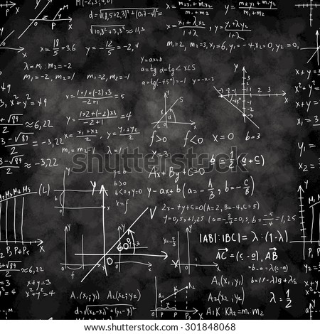Seamless pattern of mathematical operations and elementary functions, endless arithmetic on not seamless chalk boards. Handwritten solutions. Geometry and mathematics subjects. Lectures. - stock vector
