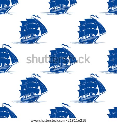 Seamless pattern of medieval sailing ship for marine or travel design - stock vector