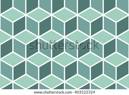 Seamless pattern of mint cubes. Endless cubic background. Optical illusion. - stock vector
