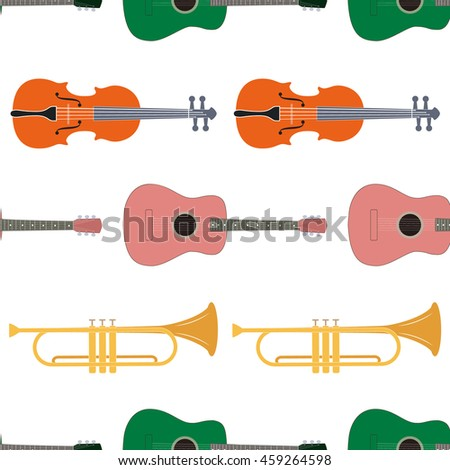 Seamless pattern of music instrument - stock vector
