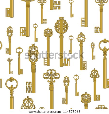 Seamless pattern of old keys gold. Pattern keys on white background in vector.
