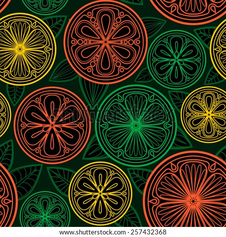 Seamless pattern of oranges, lemons and limes. Citrus slices in the vector.  - stock vector